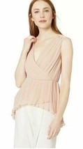 BCBGMAXAZRIA Women's Asymmetrical Pleated Faux Wrap Top XS Bare Pink - $52.44