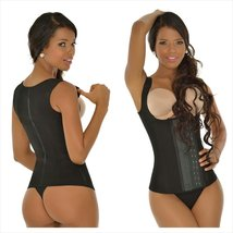 Ann Michell Women's Full Vest Workout Latex Waist Cincher (36, Black) - $49.49