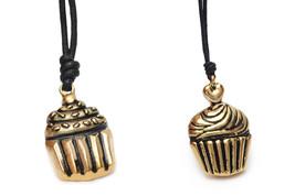 Cupcake Dessert Handmade Brass Necklace Pendant Jewelry - $9.89+