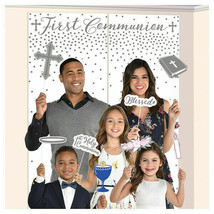 FIRST COMMUNION Scene Setter with Photo PROPS Party Wall Decoration Back... - $15.69
