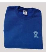 Colon Ovarian Cancer Sweatshirt Ribbon XL Royal Blue Crew Neck Unisex New - $24.22