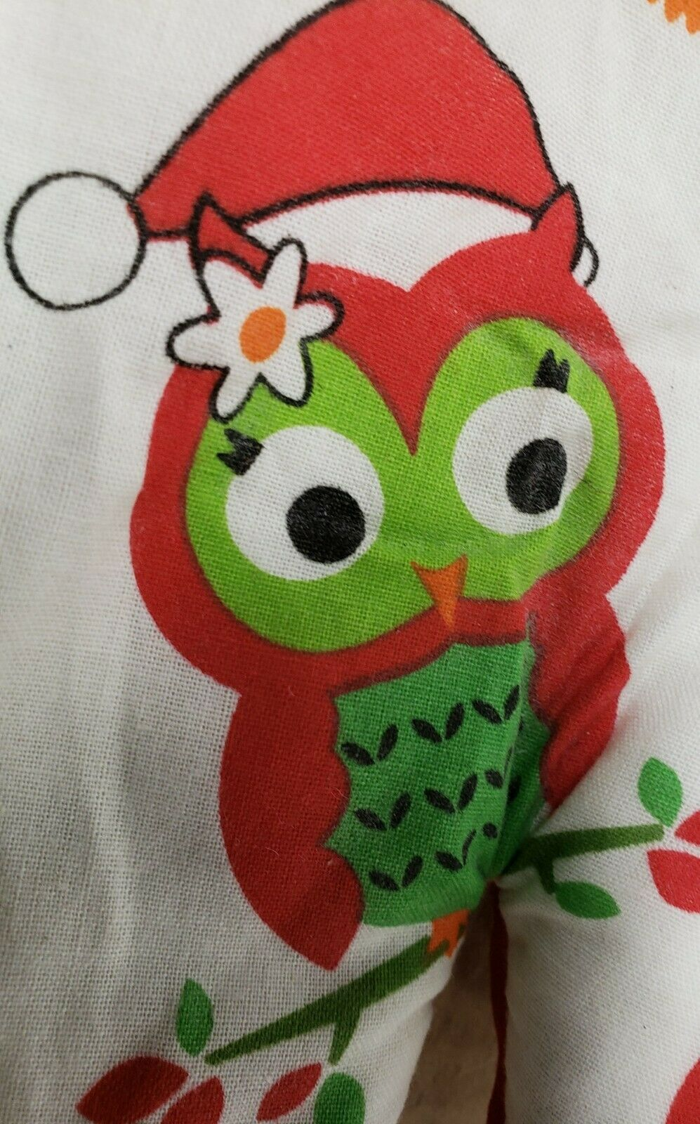 "Fabric Printed Kitchen 13"" Oven Mitt, WINTER, CHRISTMAS OWLS IN SANTA HATS, BH"