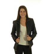 S Valerie Stevens Black Lambskin Zip Front Blaz... - $126.22