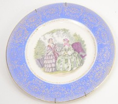 VINTAGE ART PLATE VICTORIAN LADIES 23K GOLD TRI... - $10.93