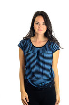 S Max Studio Blue & Black Striped Top w/Cap Sleeves and Lace Trim at Waist - $29.45