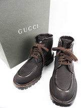 GUCCI High cut canvas leather boots Piping Brown size: US 4 - $252.57