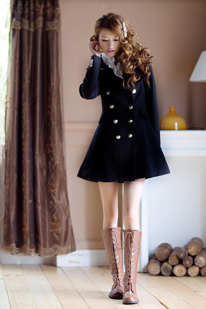 324C001 England style woolen coat, double beasts, size, S,M,L,XL, nude