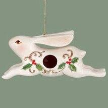 White Rabbit Birdhouse Ceramic Christmas Ornament - $8.95