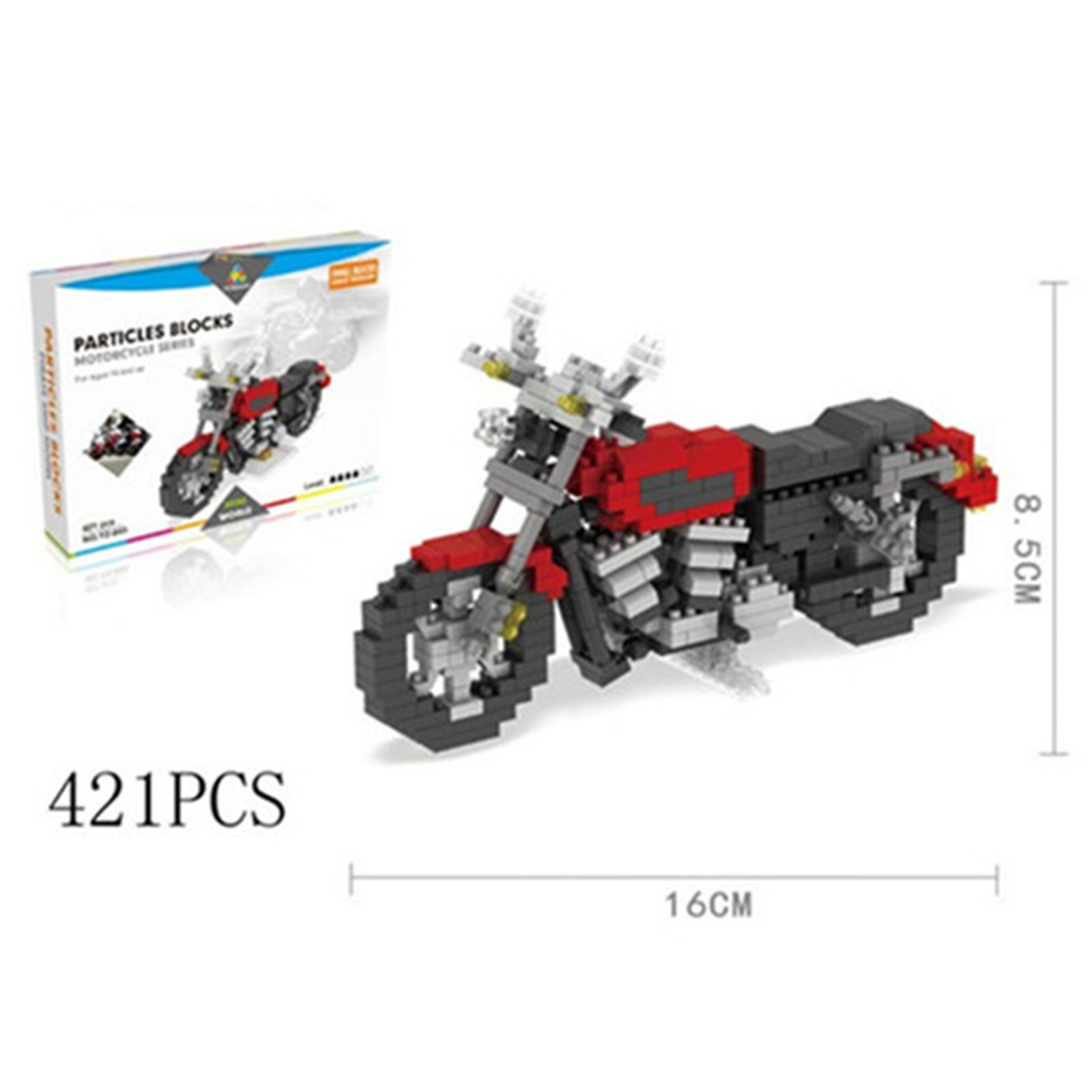 Particles Small Blocks Red Motorcycle 421 Pieces Blocks
