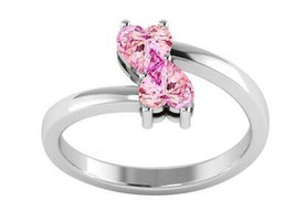 Pink Cubic Zircon Two Open Love Heart Shape Bypass Ring 925 Sterling Silver - $19.04