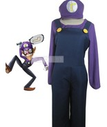 Top-grade Super Mario Bros Waluigi Cosplay Costume Belt Hat Jumpsuit Und... - $49.57