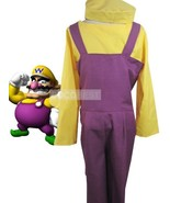 Super Mario Bros Wario Cosplay Costume Belt Hat Jumpsuit Underwear Hallo... - $49.57