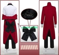 Black Butler Shinigami Grell Sutcliff Uniform Cosplay Costume Overcoat Top Shirt - $62.90
