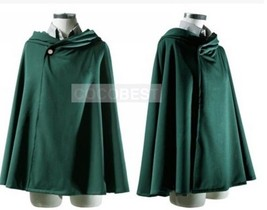 Scout Regiment Levi Cosplay Cloak from Attack on Titan Halloween costume green - $23.15