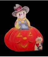 Primitive Country SCARECROW PUMPKIN CAT Farmhouse Wood Fall Halloween DECOR - $8.77