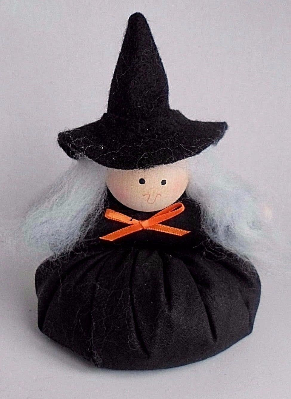 Primary image for Country Primative Halloween Stuffed Plush Hand Made Witch Bean Bag Black