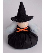 Country Primative Halloween Stuffed Plush Hand Made Witch Bean Bag Black - $5.83
