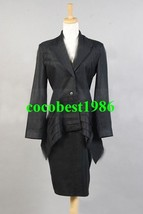 Who is Doctor Black Dress Suit Costume any size coat dress - $71.31