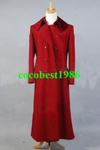 Who is Doctor Dark Red Long Trench Wool Coat Costume any size - $85.02