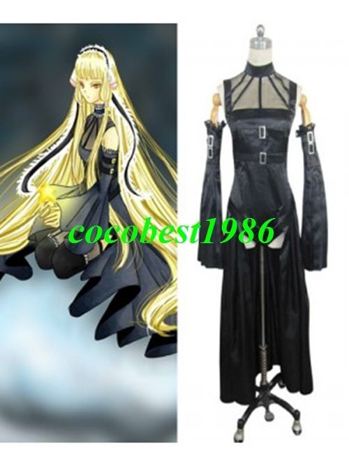 Chobits Freya Black Cosplay Costume any size Belt Sleeves Dress