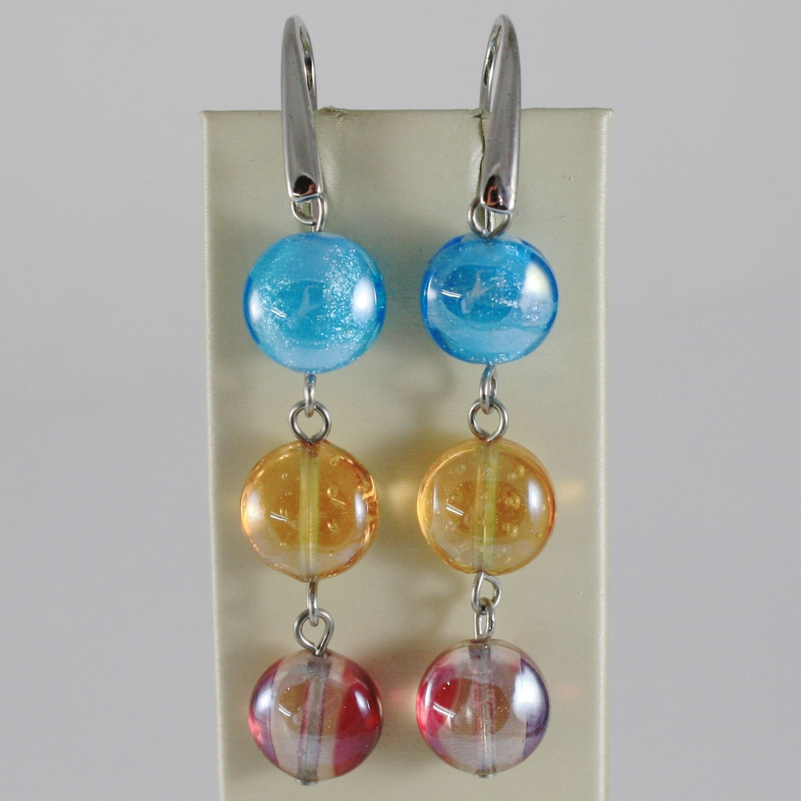 ANTICA MURRINA VENEZIA PENDANT EARRINGS ORANGE BLUE RED TRIPLE DISC