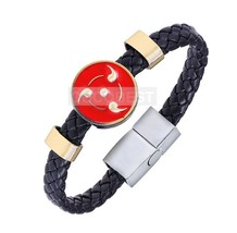 Naruto Akatsuki Sharingan Punk leather Bracelet Cosplay Accessories Collectibles - $6.14