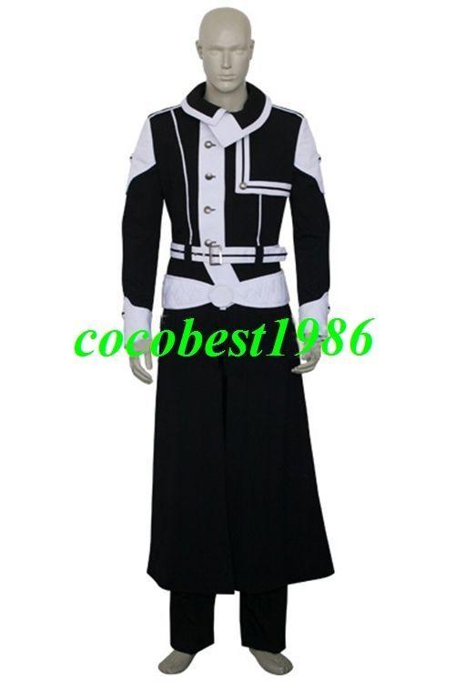 2 Kanda Yuu Black Cosplay Costume from D.Gray-Man any size Coat Pants