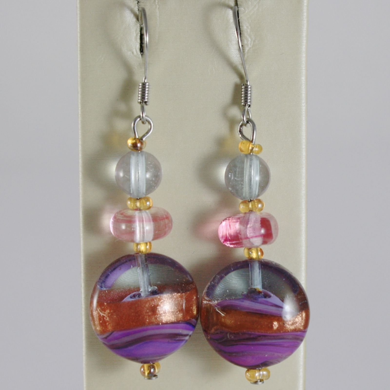 ANTICA MURRINA VENEZIA PENDANT EARRINGS PINK PURPLE FINELY STRIPED DISC