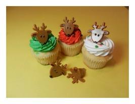 12 Reindeer Christmas Rings Cupcake Toppers Cak... - $2.99