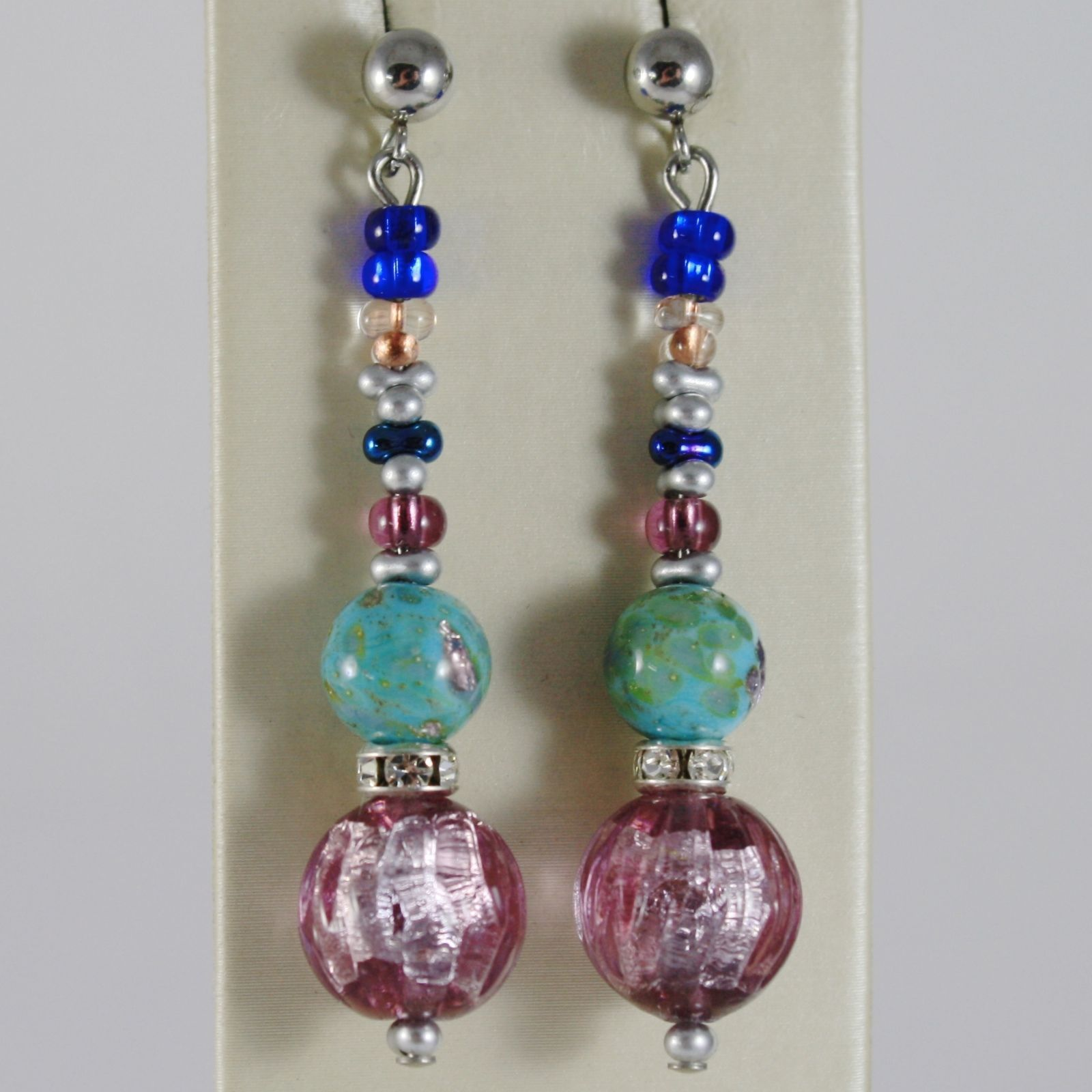 ANTICA MURRINA VENEZIA PENDANT EARRINGS BLUE PURPLE WORKED BALLS, BALL