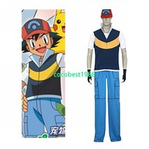 Pokémon Ash Ketchum Royal Blue And Yellow Cosplay Costume Hat Pants T-shirt - $52.24