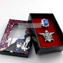 Black Butler Ciel Phantomhive Sapphire Ring and Eagle Logo Brooch Accessories - $6.49