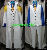 Aokiji Cosplay from One Piece shirt jacket tie coat pants eyepatch Any size - $78.17
