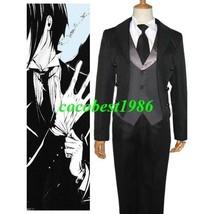 Black Butler Kuro Shitsuji Halloween Cosplay Costume Overcoat Vest Trousers Tie - $51.34