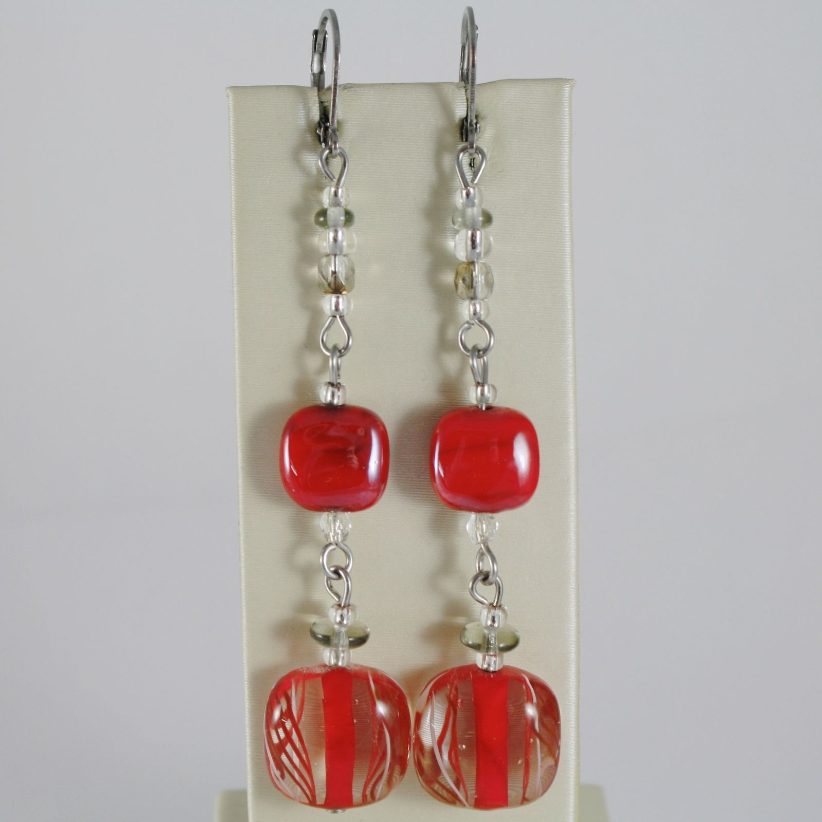 ANTICA MURRINA VENEZIA LONG PENDANT EARRINGS, RED DOUBLE STRIPED SQUARES