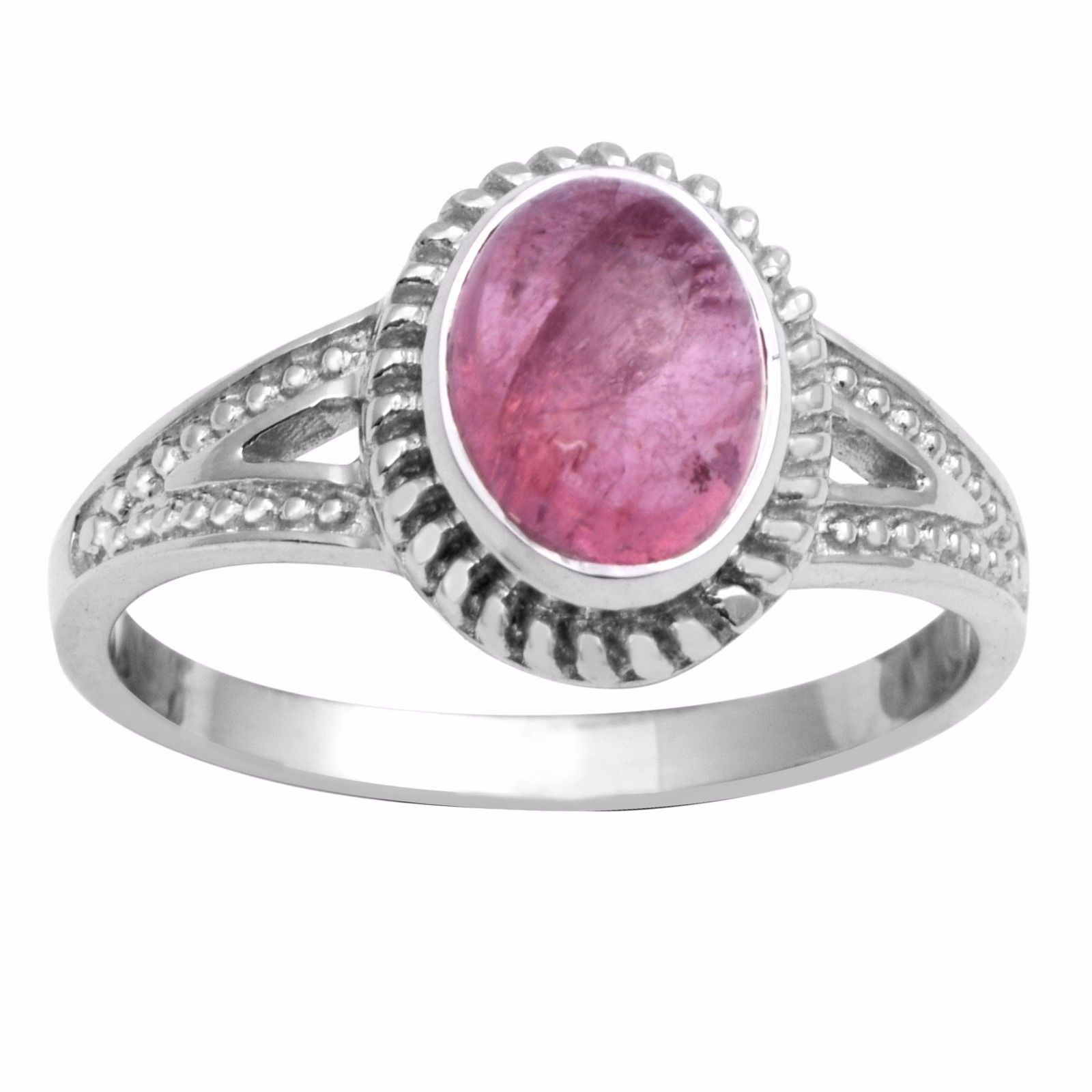 Designer Solid 925 Sterling Silver Pink Tourmaline Jewelry Ring Sz 7.5 SHRI0742