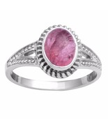 Designer Solid 925 Sterling Silver Pink Tourmaline Jewelry Ring Sz 7.5 S... - $22.02