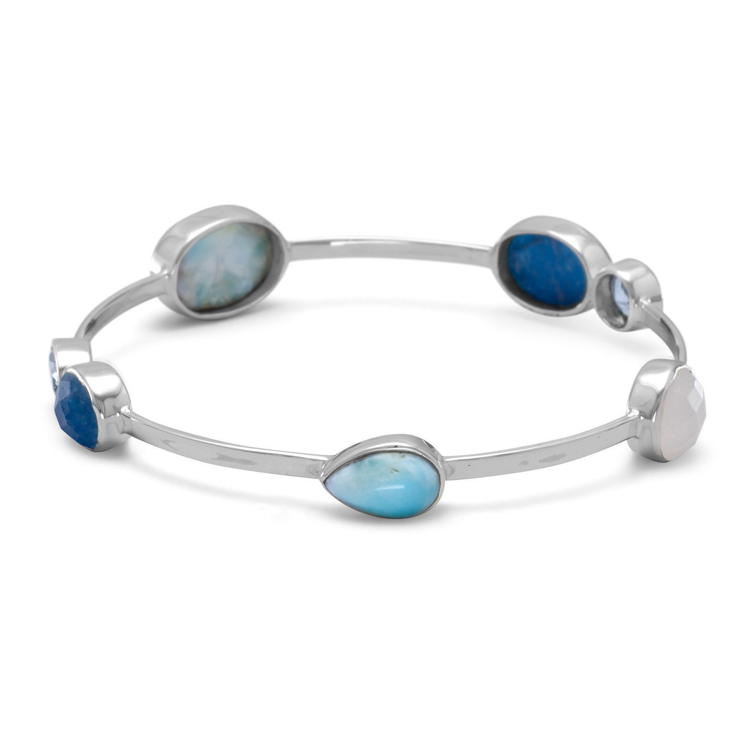 Primary image for Women's Sterling Silver Blue Topaz Multistone Stackable Bangle Bracelet