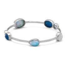 Women's Sterling Silver Blue Topaz Multistone Stackable Bangle Bracelet - $3.001,74 MXN