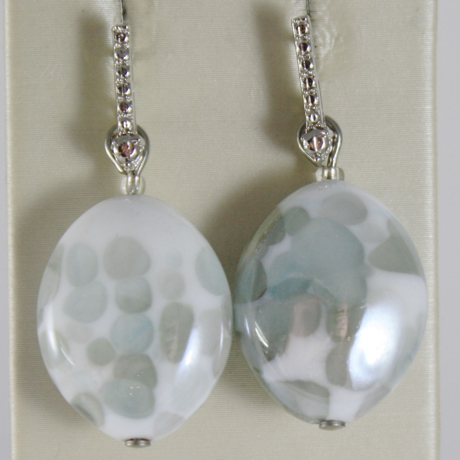 ANTICA MURRINA VENEZIA PENDANT EARRINGS, WHITE GRAY LEOPARD EFFECT OVAL OVALS