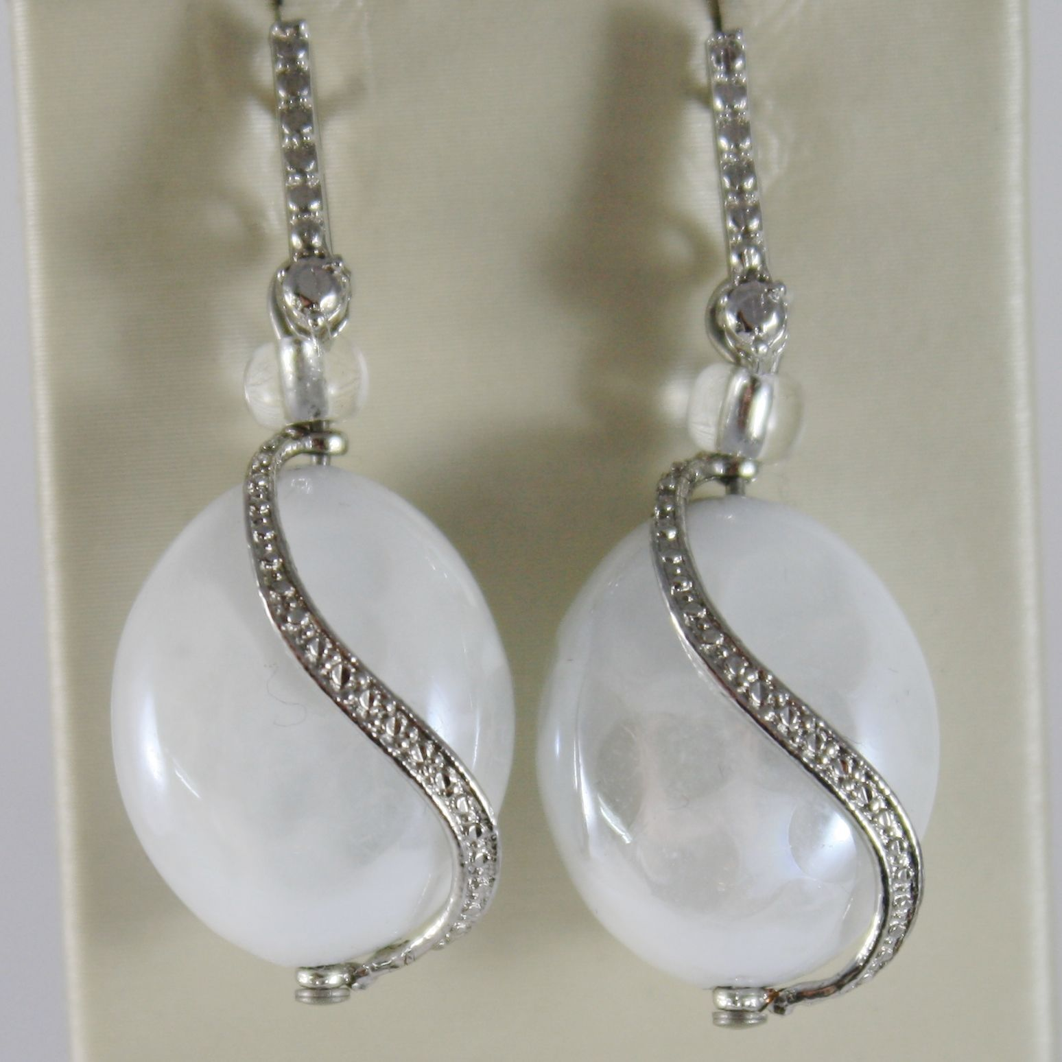 ANTICA MURRINA VENEZIA PENDANT EARRINGS, WHITE LEOPARD EFFECT WAVE OVAL OVALS