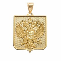 10k Yellow Gold Russian Federation Coat of Arms Double-Headed Eagle Pendant - $519.99