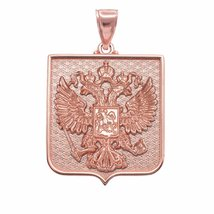 10k Rose Gold Russian Federation Coat of Arms Double-Headed Eagle Pendant - $519.99