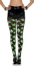 Green All Over Marijuana Leaves Print Pantyhose - $20.76