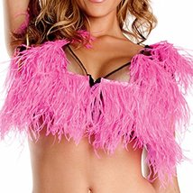 Pink Ostrich Frills and Feathers Mesh Top - $67.30