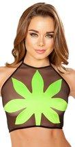 Green Leaf Sheer Black Halter Top - $47.10