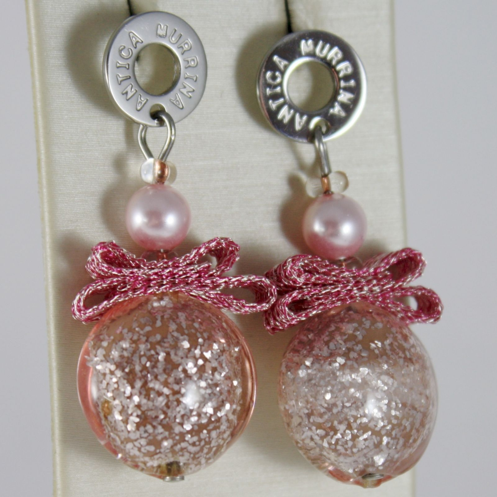 ANTICA MURRINA VENEZIA EARRINGS, PINK GLAM EFFECT ROUND DISCS WITH BOW