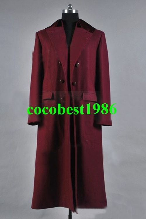 Who is Doctor 4th Doctor Plum Red Long Trench Wool Coat Costume any size