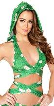 Green Daisy Grass Wrap Around Halter Top with Detachable Hood - $68.98