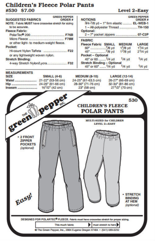 Primary image for Kids Polar Pants #530 Sewing Pattern (Pattern Only) gp530